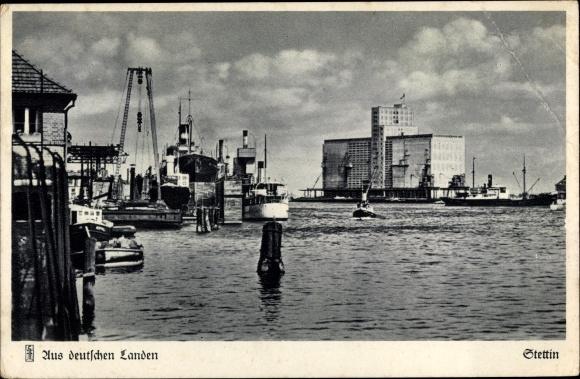 Ak Szczecin Stettin Pommern, Wasserpartie, Hafen