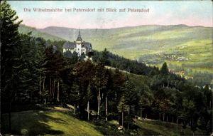 Ak Piechowice Petersdorf Riesengebirge Schlesien, Wilhelmshöhe m. Blick auf den Ort