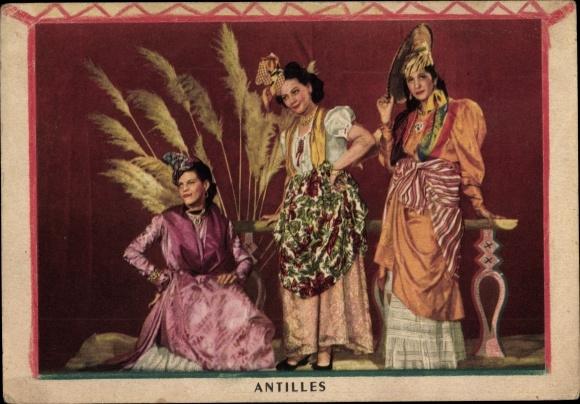 Ak Martinique, Antilles, Costumes de la Guadeloupe, de la Guyanne et de la Martinique