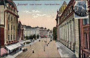 Ak București Bukarest Rumänien, Calea Victoriei, Posta, Grand Hotel