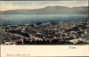 Ak Rijeka Fiume Kroatien, Stadtpanorama, Hafen