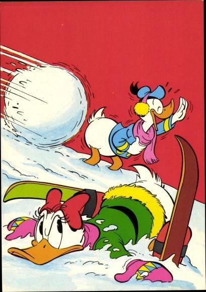 Künstler Ak Disney, Daisy Duck im Schnee, Ski, Lawine, Donald Duck