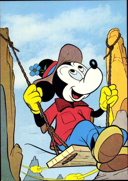 Kunstler Ak Disney Mickey Maus Donald Duck Bergsteiger Nr