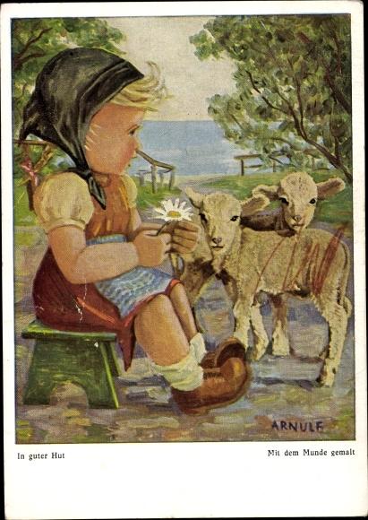 Künstler Ak Arnulf, In guter Hut, Mädchen, Schafe, Mit dem Munde gemalt