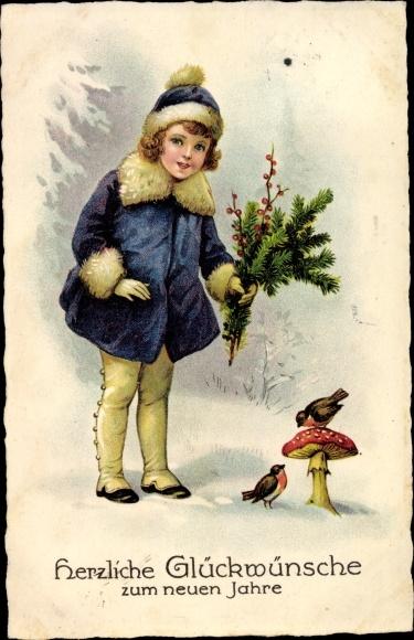 Ak Glückwunsch Neujahr, Mädchen, Fliegenpilz, Rotkehlchen