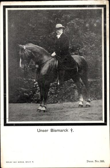 Passepartout Ak Otto von Bismarck, Herzog zu Lauenburg, Bundeskanzler, Portrait, Pferd