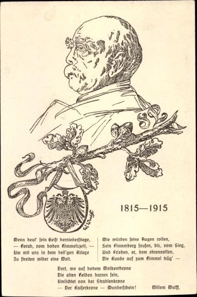 Künstler Ak Otto von Bismarck, Herzog zu Lauenburg, Bundeskanzler, Gedenkkarte 1915