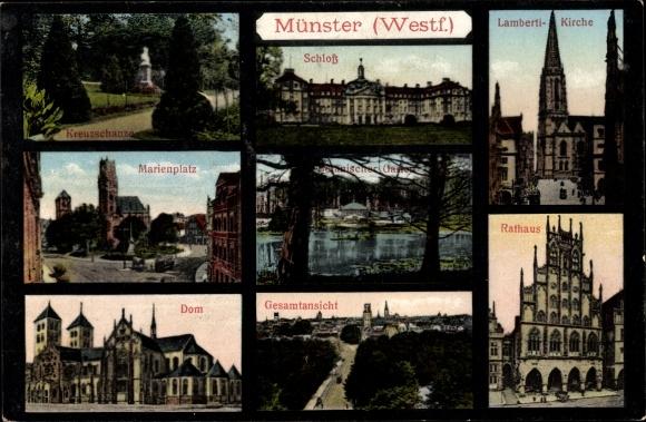 Ak Münster in Westfalen, Schloss, Rathaus, Dom, Kirche
