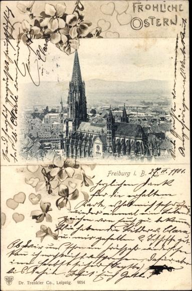 Passepartout Ak Freiburg im Breisgau, Teilansicht der Stadt, Münster, Blumenverzierung