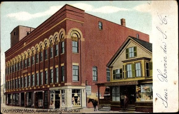 Ak Leominster Massachusetts USA, Kendall Building Music Hall