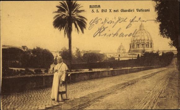 Ak Vatikan Rom Lazio, Papst Pius X., Giuseppe Melchiorre Sarto, Vatikanische Gärten