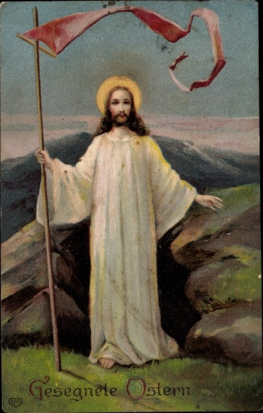 Präge Ak Glückwunsch Ostern, Jesus mit Fahne, EAS
