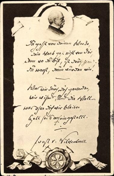 Künstler Ak Otto von Bismarck, Herzog zu Lauenburg, Bundeskanzler, Schriftstück