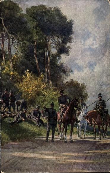 Künstler Ak Hey, Paul, Bei einer Feldwache im Westen, Soldaten