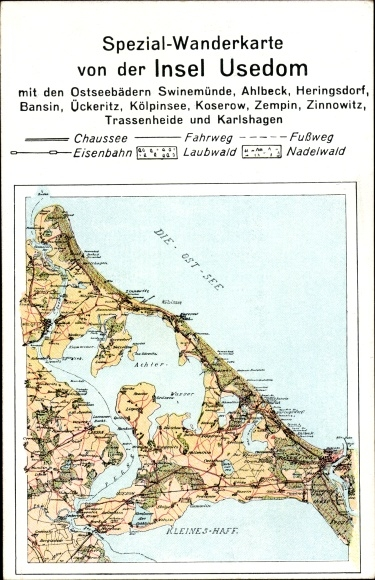 Landkarten Ak Usedom an der Ostsee, Wanderkarte, Swinemünde, Heringsdorf, Bansin, Zempin, Karlshagen