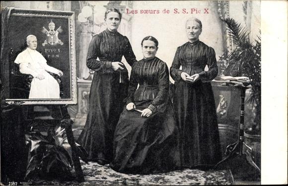 Ak Papst Pius X., Giuseppe Melchiorre Sarto, Drei Schwestern