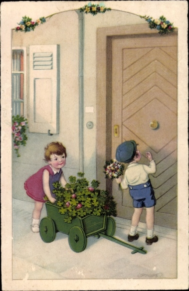 Künstler Ak Baumgarten, Fritz, Gratulanten, Blumen, Kleeblätter, Meissner & Buch 3351