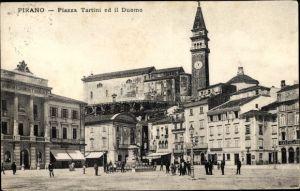 Ak Pirano Piran Slowenien, Piazza Tartini ed il Duomo