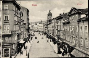 Ak Rijeka Fiume Kroatien, Corso, Straßenpartie
