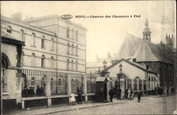 Ak Mons Wallonien Hennegau, Caserne des Chasseurs à Pied