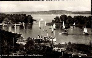 Ak Berlin Spandau Kladow, Dampferstation mit Blick auf Insel Imchen, Segelboote, Salondampfer