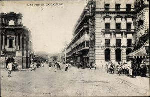 Ak Colombo Ceylon Sri Lanka, Une rue