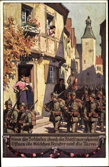 Künstler Ak Hey, Paul, Soldatenliederpostkarte Nr 2, Wenn die Soldaten durch die Stadt marschieren