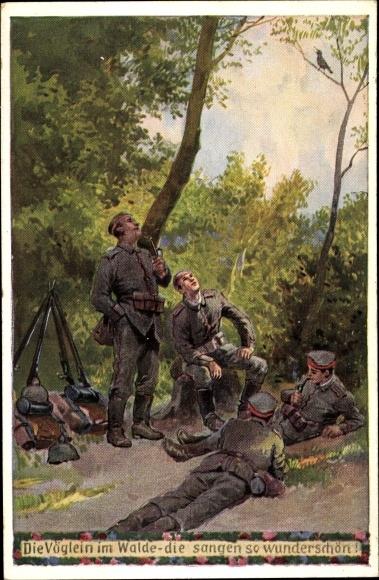 Künstler Ak Hey, Paul, Soldatenliegerkarte Nr 19, Die Vöglein im Walde