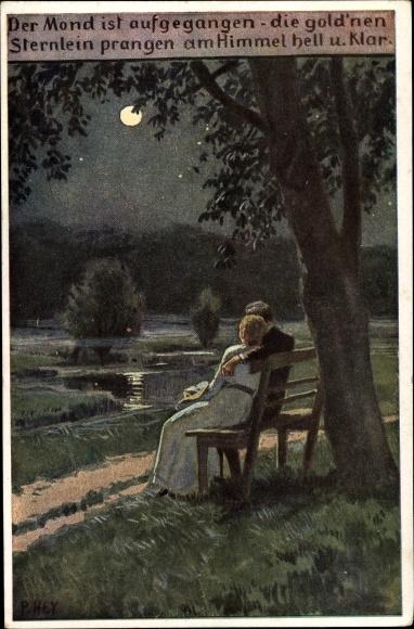 Künstler Ak Hey, Paul, Volksliederkarte Nr 63, Der Mond ist aufgegangen