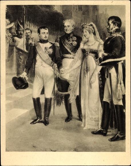Künstler Ak Napoleon Bonaparte, Königin Luise von Mecklenburg Strelitz, Luise von Preußen