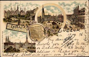 Litho Lübeck in Schleswig Holstein, Geibel Denkmal, Marktplatz, Breite Straße, Rathaus
