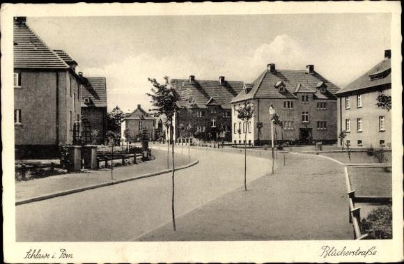 Ak Sławno Schlawe Pommern, Blücherstraße