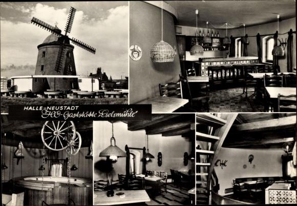 Ak Halle Neustadt, HO Gaststätte Eselsmühle von innen, Windmühle