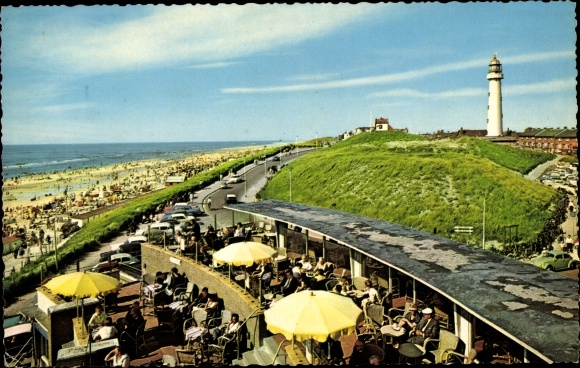 Ak Egmond aan Zee Nordholland, Boulevard, Strand, Cafe, Leuchtturm