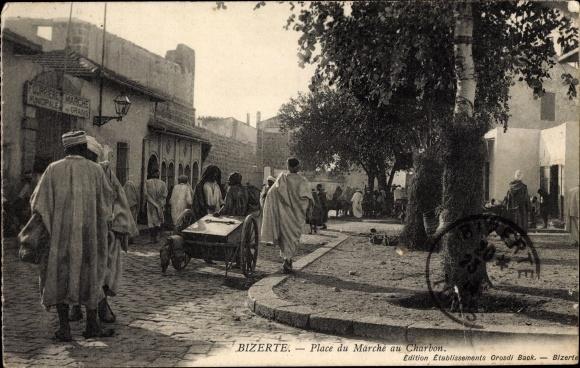 Ak Bizerte Tunesien, Place du Marché au Charbon