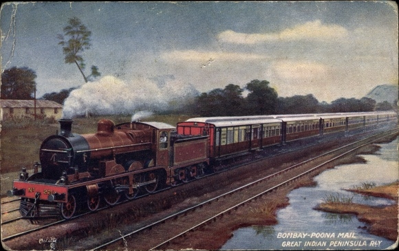 Künstler Ak Indien, Bombay Poona Mail, Great Indian Peninsula Railway, Tuck Nr 9329