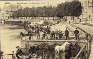 Ak Sedan Ardennes, La Baignade des chevaux