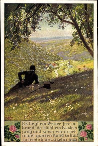 Künstler Ak Hey, Paul, Volksliederkarten Nr 69, Aus der Jugendzeit