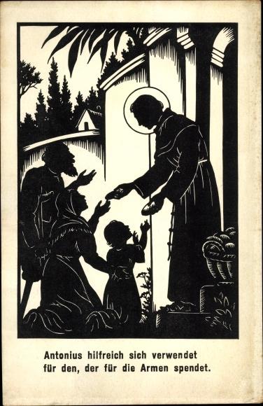 Scherenschnitt Ak Allmayer, Josefine, Antonius von Padua