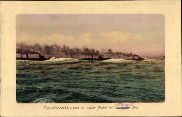 Ak Deutsches Kriegsschiff, Torpedobootsdivision in voller Fahrt