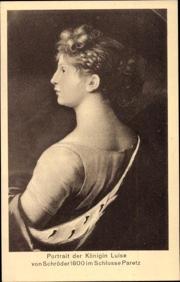 Künstler Ak Schröder, Königin Luise von Mecklenburg Strelitz, Luise von Preußen, Schloss Paretz