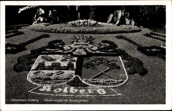 Wappen Ak Kołobrzeg Kolberg Pommern, Stadtwappen, Rosengarten