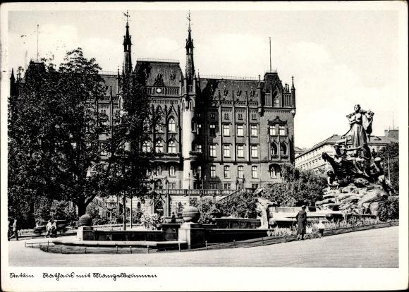 Ak Szczecin Stettin Pommern, Rathaus, Manzelbrunnen