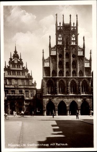 Ak Münster in Westfalen, Stadtweinhaus, Rathaus