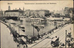Ak Berlin Kreuzberg, Dampferstation Jannowitzbrücke und Stadtbahn