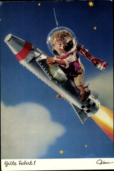 Ak Mecki der Igel, Gute Fahrt, Rakete, Astronaut
