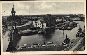 Ak Dortmund im Ruhrgebiet, Hafenpartie, Binnenschiffe, Flussdampfer, Brücke, Kran, Gebäude