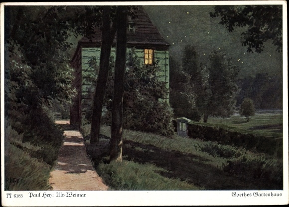 Künstler Ak Hey, Paul, Goethes Gartenhaus, Ackermann 6183