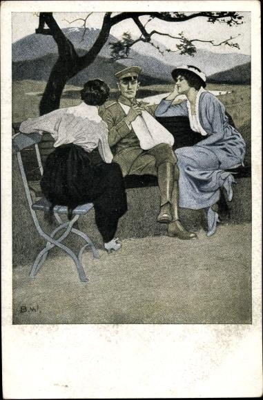 Künstler Ak Wennerberg, Bruno, Daheim, Soldat, Zwei junge Frauen