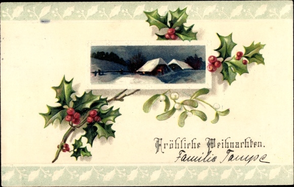 Präge Passepartout Ak Frohe Weihnachten, Stechpalmen, Mistelzweig, Häuser, Schnee, Nachtbeleuchtung